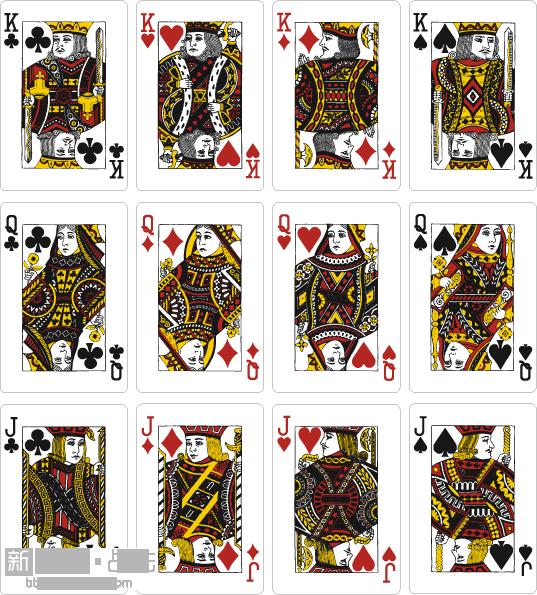 第一种说法认为: 扑克牌中的画像均为历史人物:红桃k里的国王是建立查理曼帝国的查理大帝,他是扑克牌中惟一不留胡子的国王。方块k里的国王是古罗马的恺撒,尽管他当时没有公开称王,但后人仍把他叫做恺撒大帝。梅花k里的画像是亚历山大,曾一手缔造了地跨欧、亚、非三大洲的亚历山大帝国。黑桃k里的画像是公元前10世纪以色列国王索洛蒙的父亲戴维。他善于用竖琴演奏,并在《圣经》上写了许多赞美诗,所以这张牌上经常有竖琴图样。黑桃q是希腊智慧和战争女神帕拉斯阿西娜,在四位皇后中,惟有此皇后手持武器。红桃q名叫朱尔斯,她是德国巴