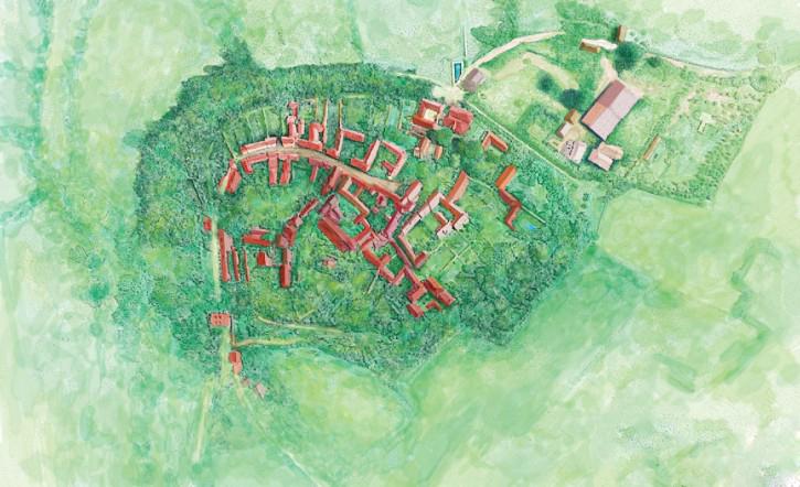 小镇手绘地图